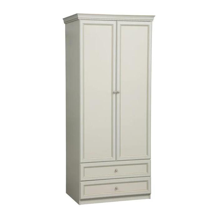 Шкаф для одежды ОЛМЕКО 40.02 Эльмира белый/ДВПО: белый/ПВХ белая кожа/профиль: Kroning белая кожа патина
