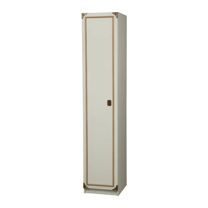 Шкаф для одежды ОЛМЕКО Севилья-1 белый/профиль: Kroning канат золотой