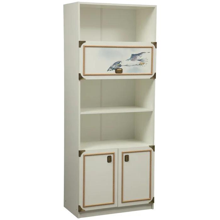 Шкаф комбинированный ОЛМЕКО Севилья-18 белый/профиль: Kroning канат золотой