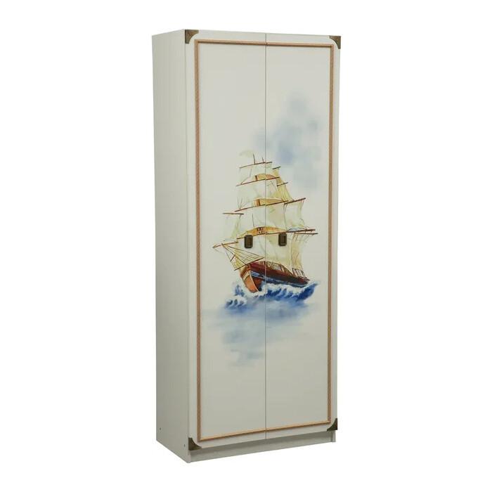 Шкаф комбинированный ОЛМЕКО Севилья-2 белый/профиль: Kroning канат золотой