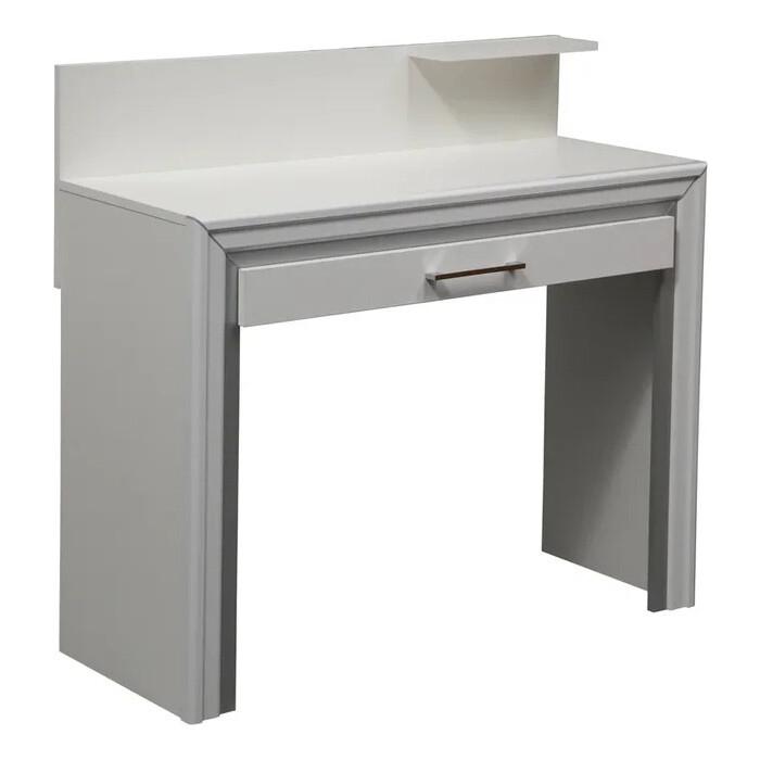Стол туалетный ОЛМЕКО 38.04 Беатрис белый/белый альпийский/профиль: Kroning белый глянец с серебром