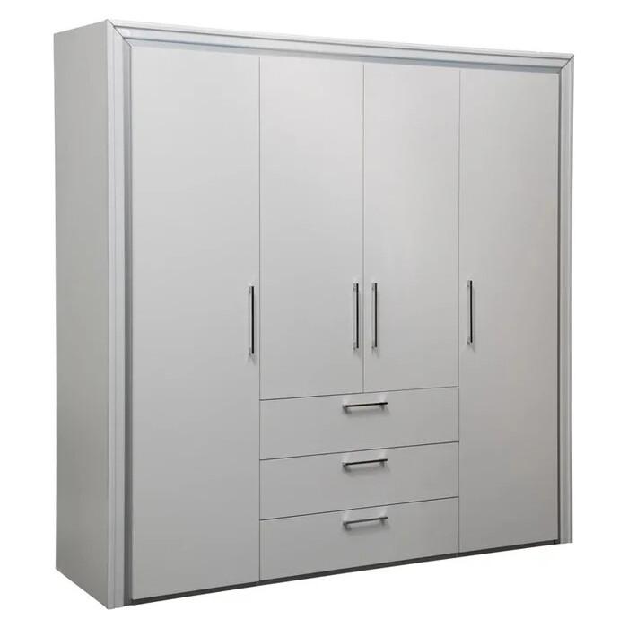 Шкаф для одежды 4-х дверный ОЛМЕКО 38.01-02 Беатрис белый/белый альпийский/профиль: Kroning белый глянец с серебром