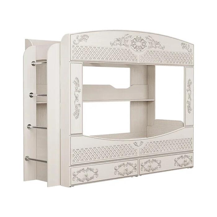 ОЛМЕКО Кровать 2-х ярусная Каролина патина вудлайн кремовый/ПВХ сандал белый/осн.