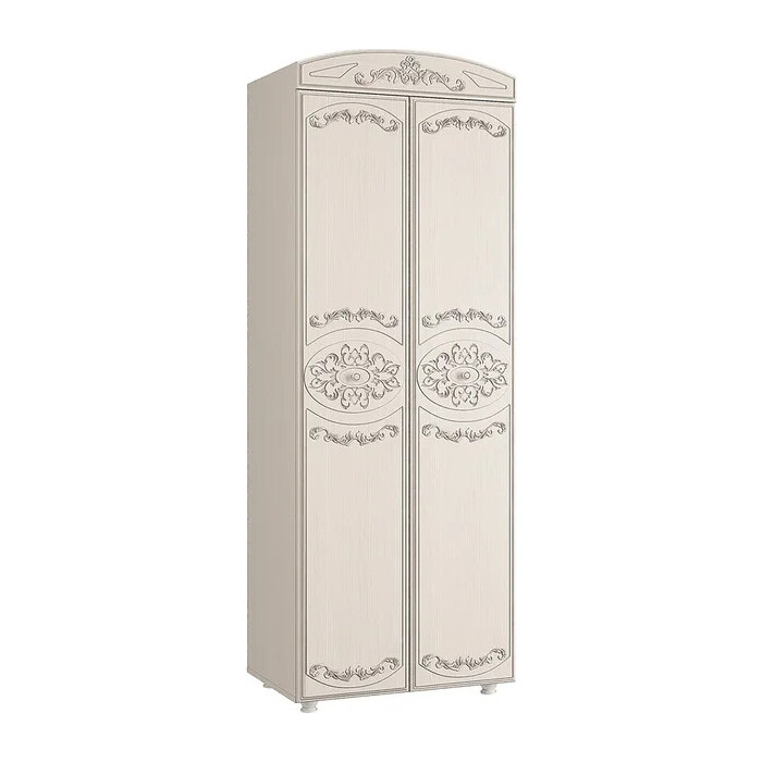 ОЛМЕКО Шкаф 2-х дверный комбинированный Каролина патина вудлайн кремовый/ПВХ сандал белый/ДВПО белый