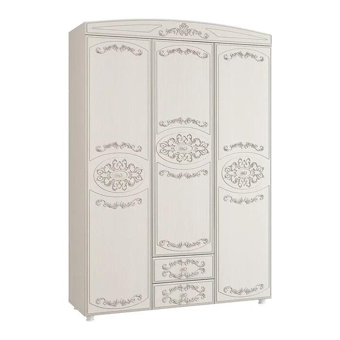 ОЛМЕКО Шкаф 3-х дверный комбинированный Каролина патина вудлайн кремовый/ПВХ сандал белый/ДВПО белый