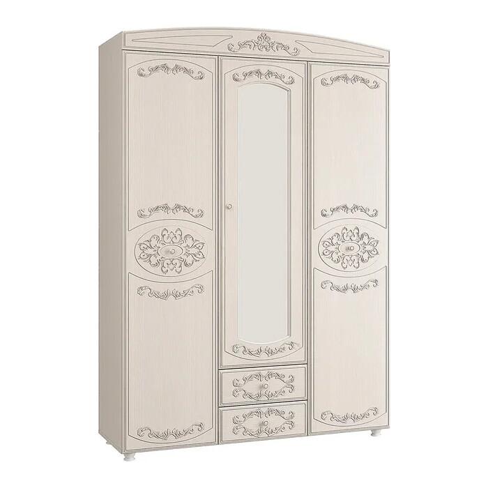 ОЛМЕКО Шкаф 3-х дверный комбинированный с зеркалом Каролина патина вудлайн кремовый/ПВХ сандал белый/ДВПО белый