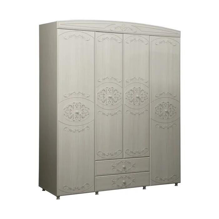 ОЛМЕКО Шкаф 4-х дверный комбинированный Каролина патина вудлайн кремовый/ПВХ сандал белый/ДВПО белый