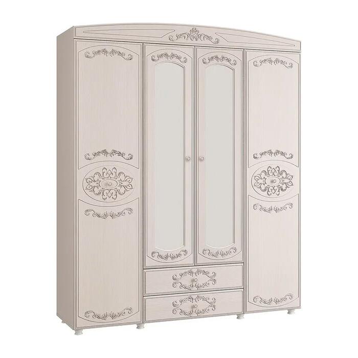 Шкаф 4-х дверный комбинированный с зеркалом ОЛМЕКО Каролина патина вудлайн кремовый/ПВХ сандал белый/ДВПО белый