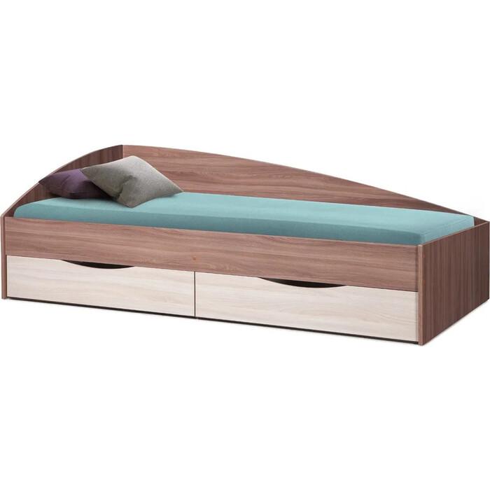 Кровать одинарная ОЛМЕКО Фея-3 80x190 исп. 1 ясень шимо темный/ясень шимо светлый/ДВПО белый