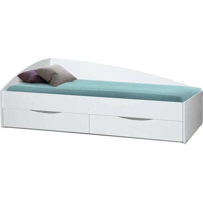 Кровать одинарная ОЛМЕКО Фея-3 80x190 исп. 1 белый/белый/ДВПО белый