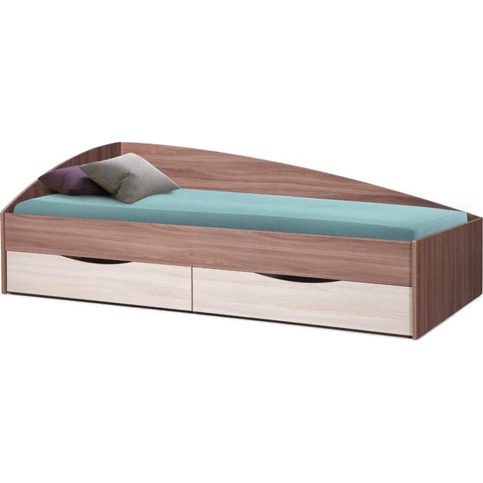 Кровать одинарная ОЛМЕКО Фея-3 90x200 ясень шимо темный/ясень шимо светлый/ДВПО белый
