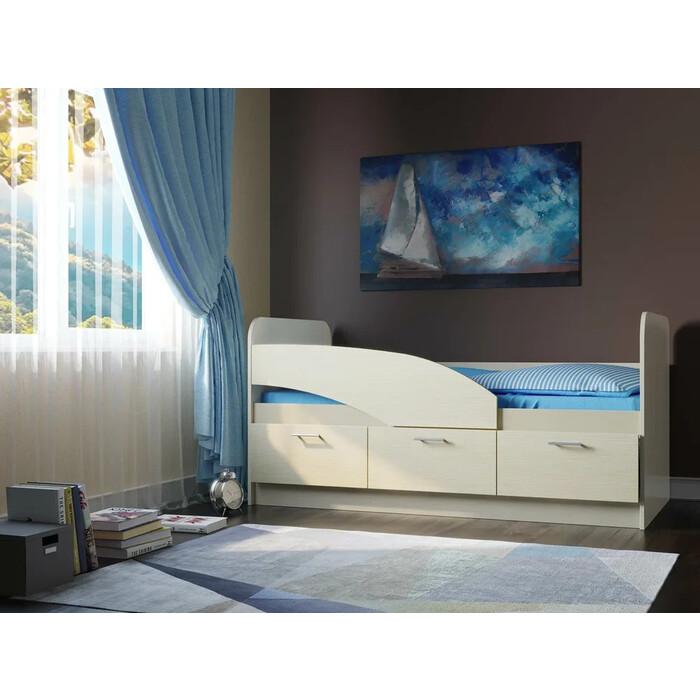 Кровать одинарная ОЛМЕКО 06.223 180 Дельфин/белый/белый/ДВПО: белый