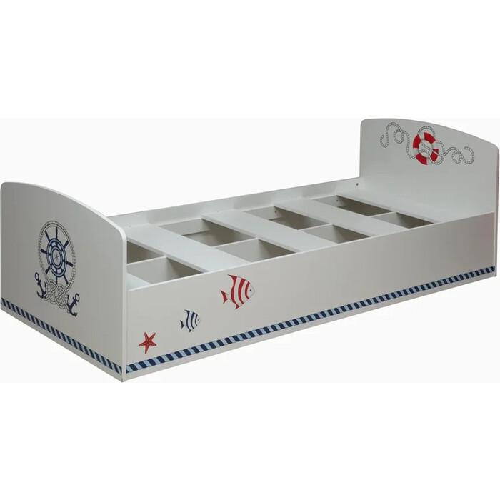 Кровать одинарная ОЛМЕКО Лего-2 кораблик/белый