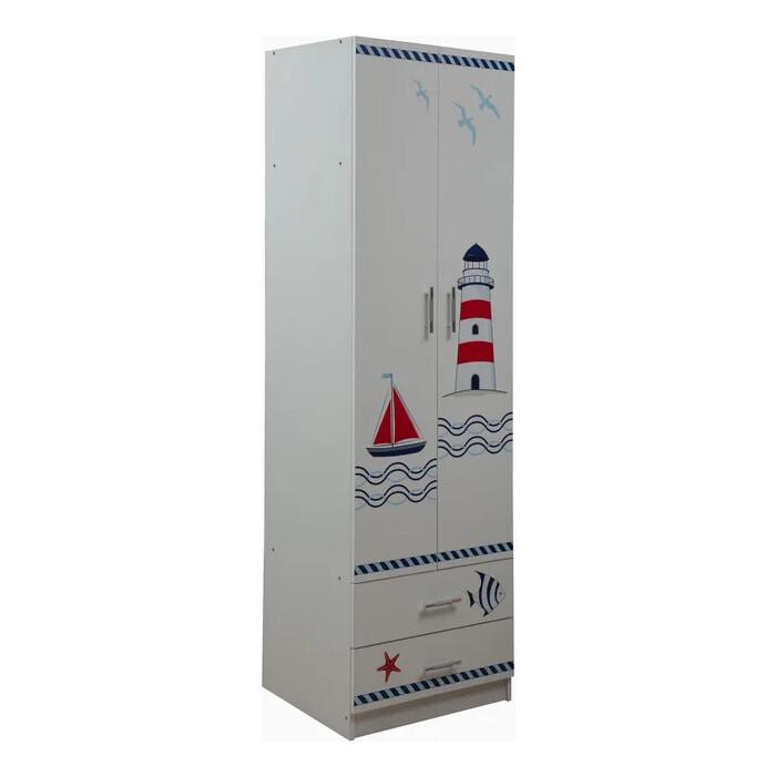 Шкаф для одежды ОЛМЕКО Лего-3 кораблик/белый