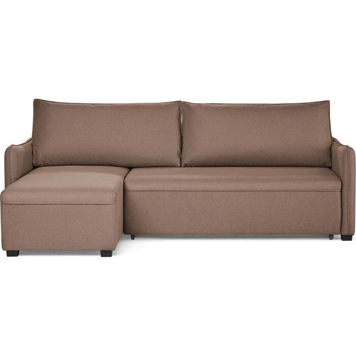 Угловой диван-кровать СМК 381 2ек-1пф 757 коричневый (Preston 232)