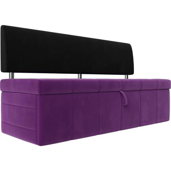 Фото - Кухонный прямой диван АртМебель Стоун микровельвет фиолетовый/черный кухонный прямой диван артмебель стоун эко кожа черный белый