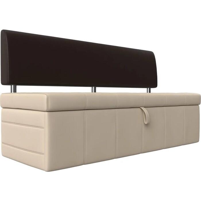 Фото - Кухонный прямой диван АртМебель Стоун эко кожа бежевый/коричневый кухонный прямой диван артмебель стоун эко кожа черный белый