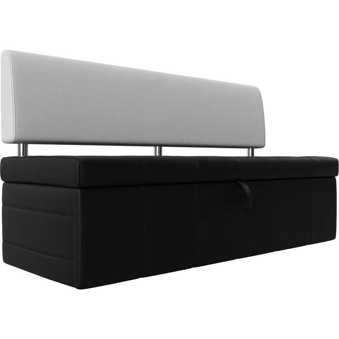 Фото - Кухонный прямой диван АртМебель Стоун эко кожа черный/белый кухонный прямой диван артмебель стоун эко кожа черный белый