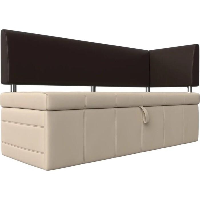 Фото - Кухонный угловой диван АртМебель Стоун эко кожа бежевый/коричневый правый угол кухонный прямой диван артмебель стоун эко кожа черный белый