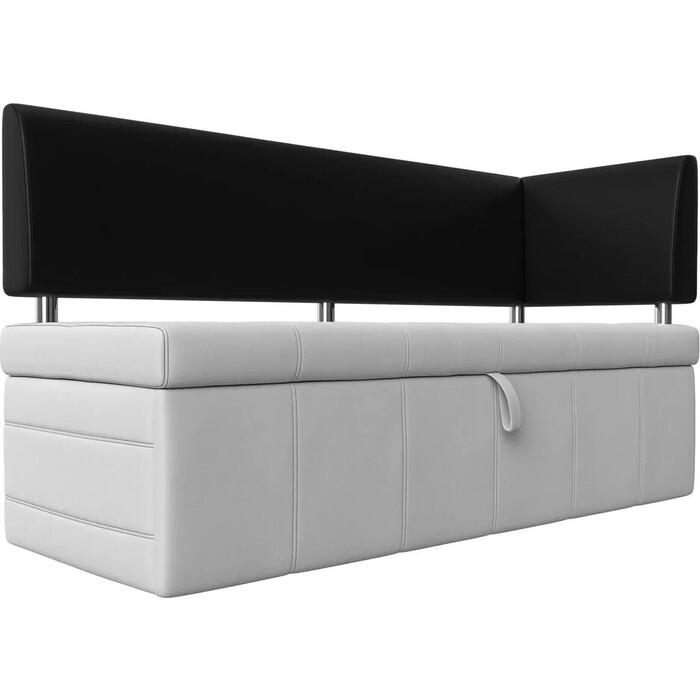 Фото - Кухонный угловой диван АртМебель Стоун эко кожа белый/черный правый угол кухонный прямой диван артмебель стоун эко кожа черный белый