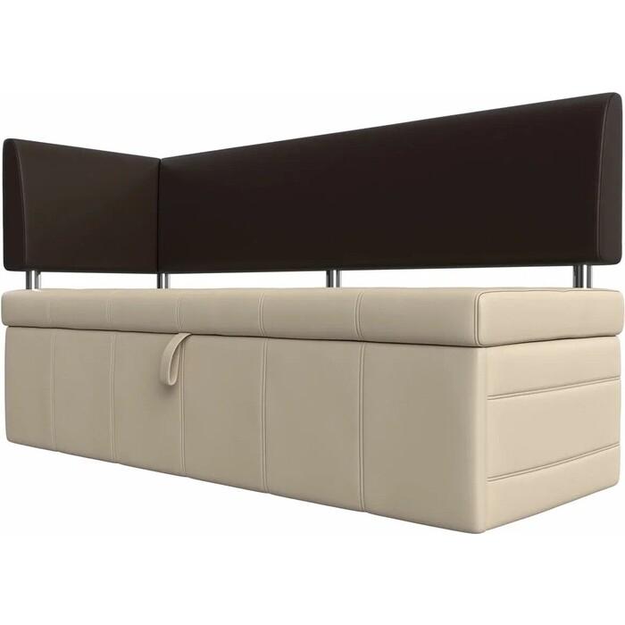 Фото - Кухонный угловой диван АртМебель Стоун эко кожа бежевый/коричневый левый угол кухонный прямой диван артмебель стоун эко кожа черный белый