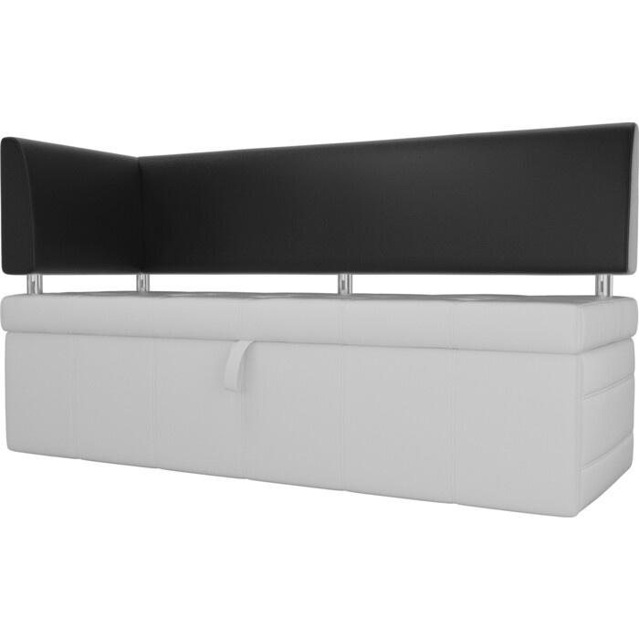 Фото - Кухонный угловой диван АртМебель Стоун эко кожа белый/черный левый угол кухонный прямой диван артмебель стоун эко кожа черный белый