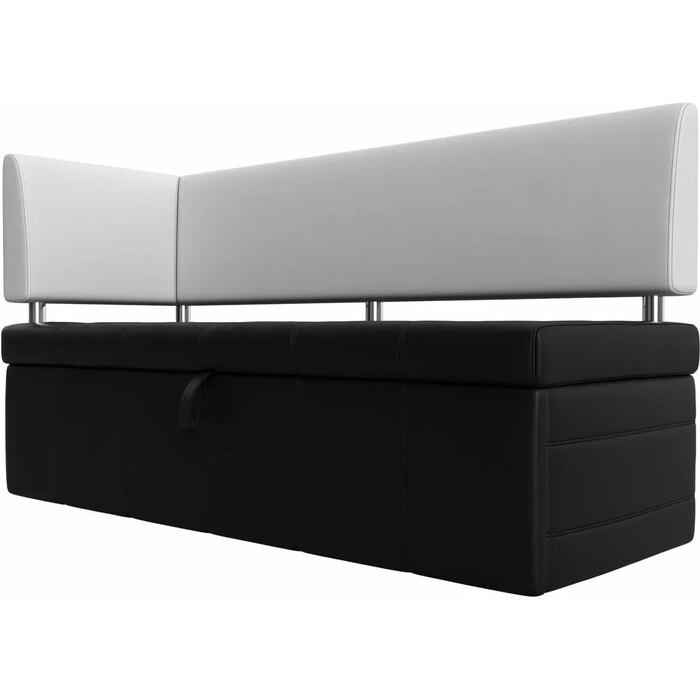 Фото - Кухонный угловой диван АртМебель Стоун эко кожа черный/белый левый угол кухонный прямой диван артмебель стоун эко кожа черный белый