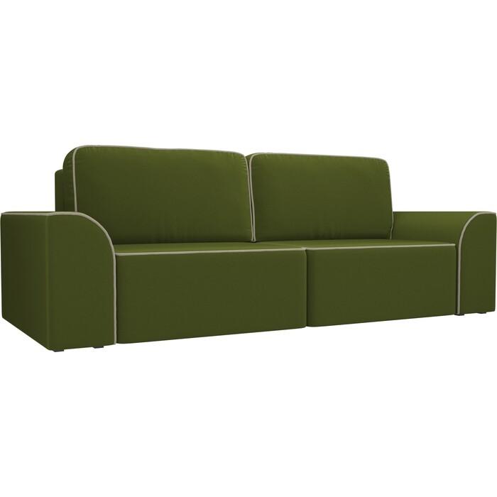Прямой диван АртМебель Вилсон микровельвет зеленый