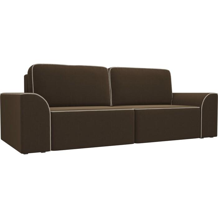 Прямой диван АртМебель Вилсон микровельвет коричневый