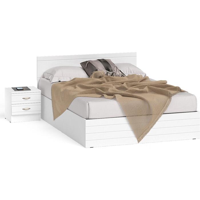 СВК Елена кровать 1400 + тумба корпус белый/фасад мдф белый глянец 140х200