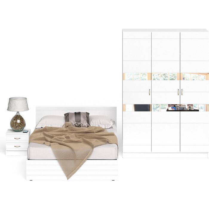 СВК Елена спальня № 3 кровать 1400 + тумба + шкаф 1500 корпус белый/фасад мдф белый глянец 140х200 свк кровать с ящиками камелия 1400 белый 140х200