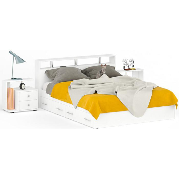 СВК Камелия кровать с ящиками 1600 + две тумбы белый 160х200 свк камелия кровать с ящиками 1800 две тумбы венге дуб лоредо 180х200