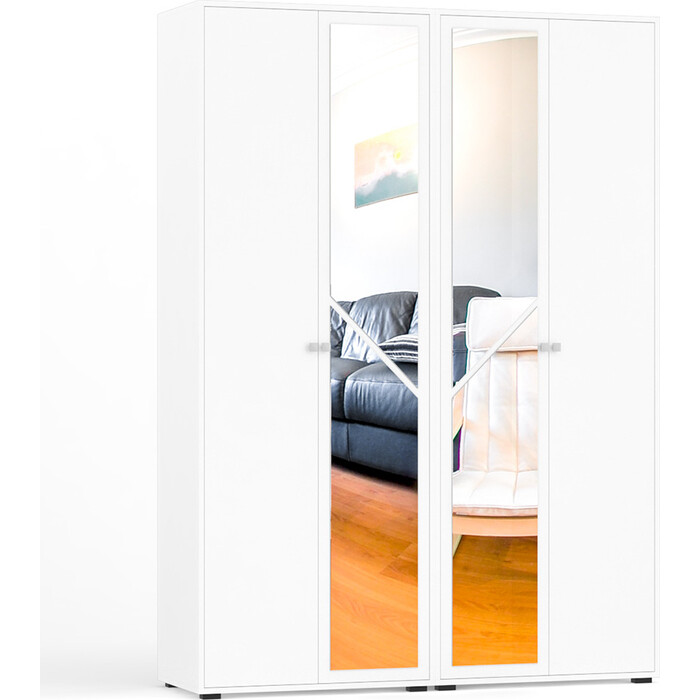 Шкаф 4-х створчатый СВК Камелия белый универсальная сборка
