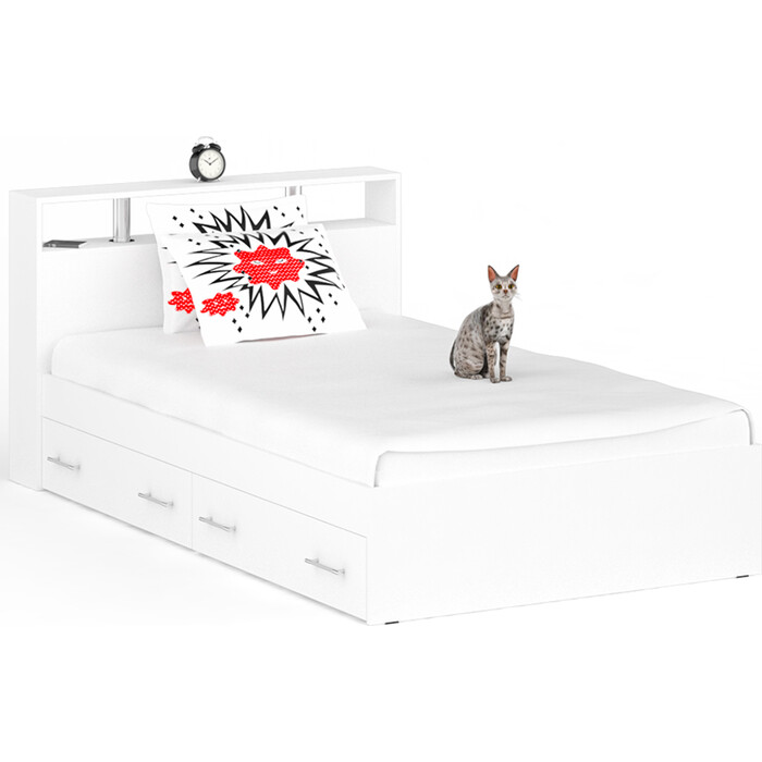 СВК Кровать с ящиками Камелия 1200 белый 120х200 свк кровать с ящиками камелия 1400 белый 140х200
