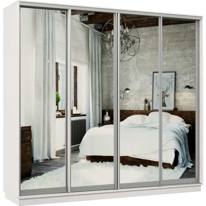 Шкаф-купе Классика 48 (каркас белый, фасады 01/01/01/01 зеркало) профиль серебро 48.2400.2400.600.(01.01.01.01).07.(00.00.00.00).01