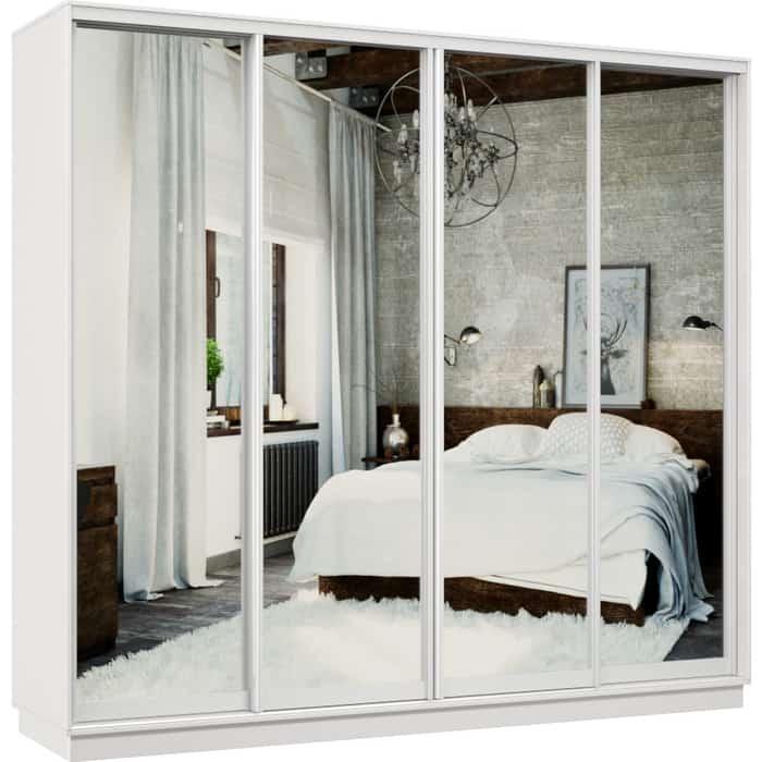 Шкаф-купе Классика 48 (каркас белый, фасады 01/01/01/01 зеркало) профиль белый глянец 48.2400.2400.600.(01.01.01.01).07.(00.00.00.00).06