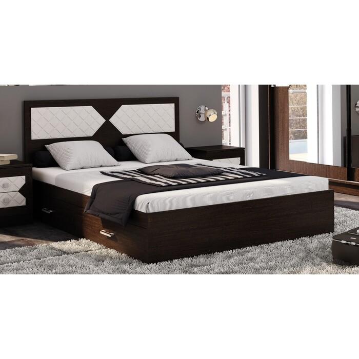 Кровать ЭРА Николь 1,4 венге-лиственница светлая ЛДСП