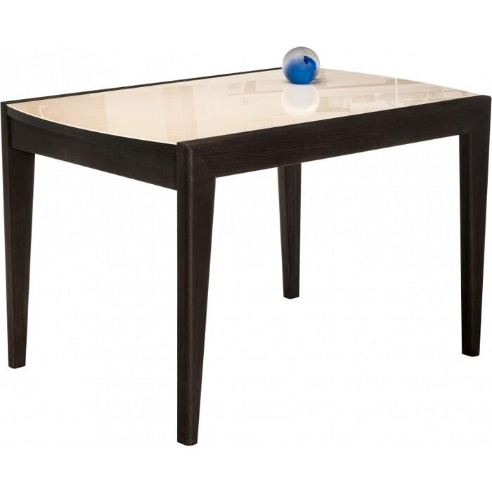 Стеклянный стол Woodville Оливер бежевый/орех премиум