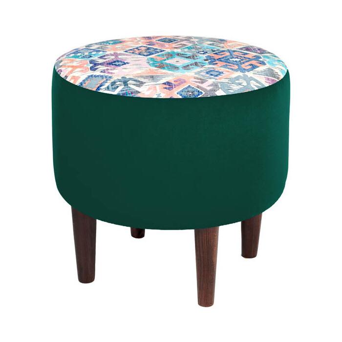 Пуф Мебельстория Жасмин-4 зеленый велюр / принт