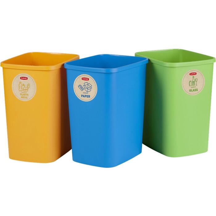 Контейнер для мусора CURVER DECO FLIPBIN 10L NO LID-MIXED (3шт в упаковке) (249841)