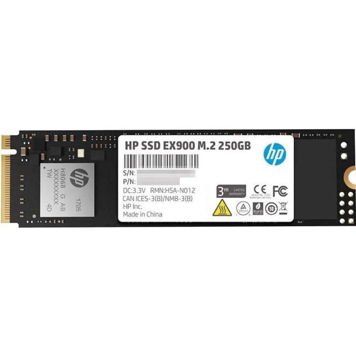 SSD накопитель HP 250GB EX900 M.2, NVMe 3D TLC [R/W - 2100/1300 MB/s]