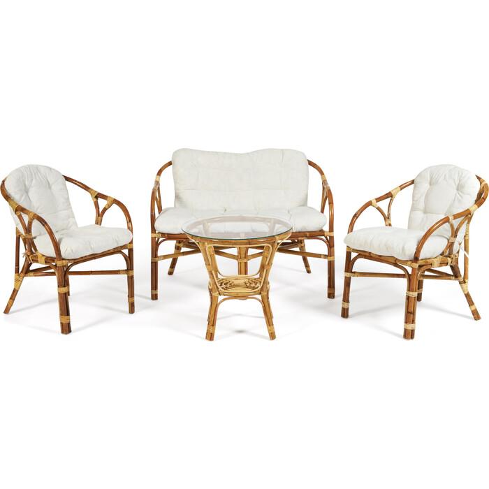 Комплект для отдыха (стол круглый со стеклом+2 кресла + диван) TetChair Rondo eco skin с подушками Natural (натуральный)