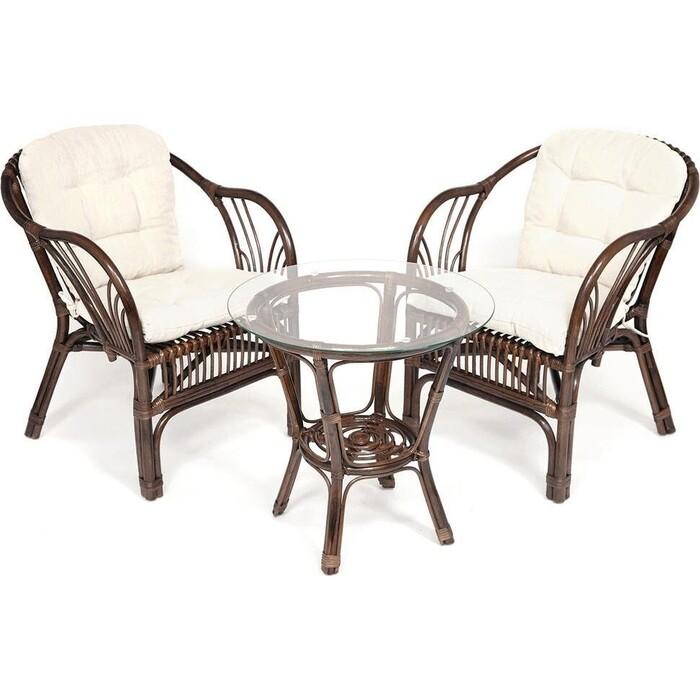 Террасный комплект (2 кресла + стол) TetChair Bogota с подушками ротанг Natural (натуральный)