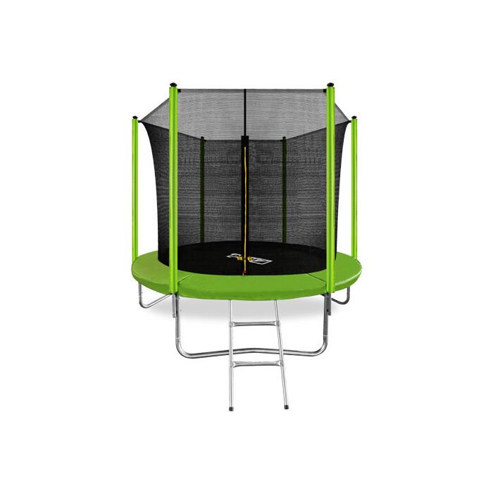 Батут Arland 8FT с внутренней страховочной сеткой и лестницей (светло-зеленый)