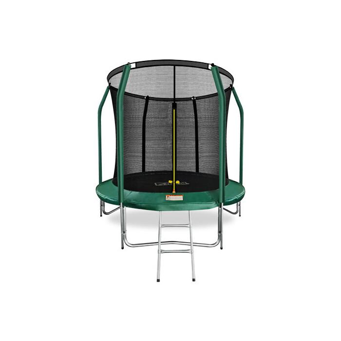 Фото - Батут Arland 8FT с внутренней страховочной сеткой и лестницей (темно-зеленый) каркасный батут arland премиум 16ft с внутренней страховочной сеткой и лестницей dark green