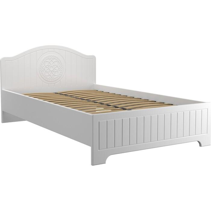 Кровать с ламелями и опорами Compass Монблан МБ-601К 200x120 белое дерево