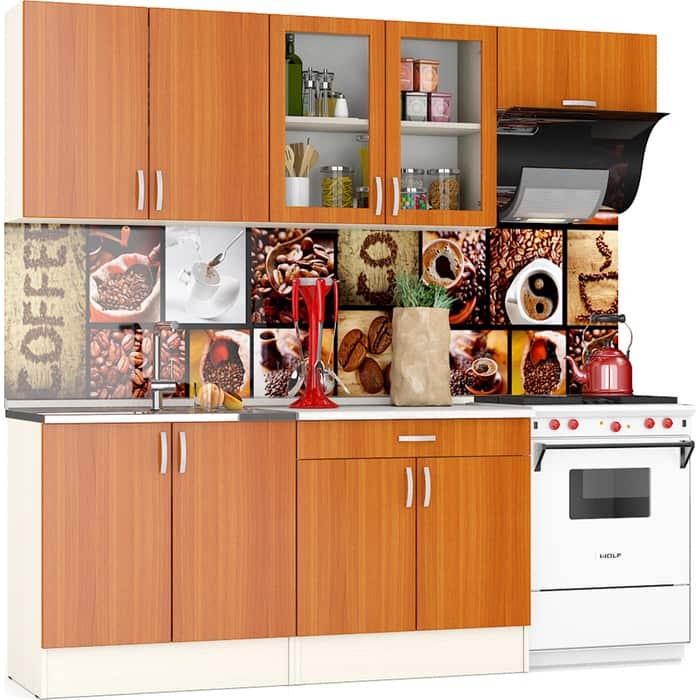 Кухня Мебельный двор Клер 2,2 дуб/вишня верх ШВ-800+ШВС-800+ШВв-600, низ ШНМ-800+ШН1Я-800 столешница № 130 сахара белая универсальнная сборка