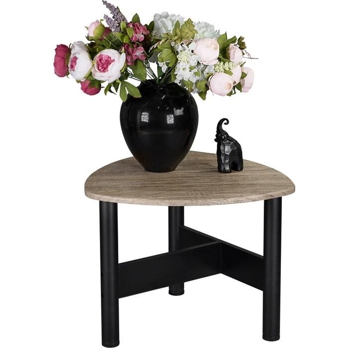 Стол журнальный Мебелик Саут 3Д черный/палисандр натуральный