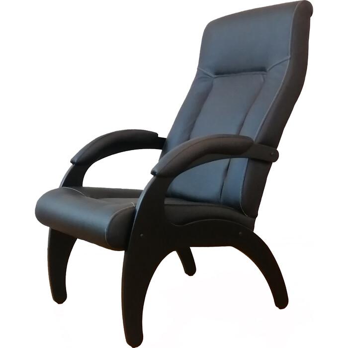 Кресло Мебелик Пиза экокожа черный, каркас венге