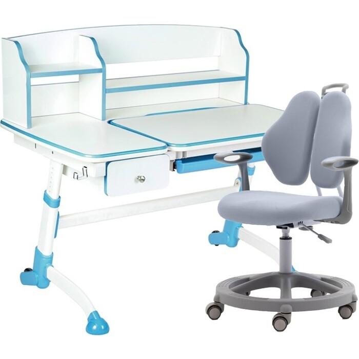 Комплект FunDesk Парта Amare II blue + кресло Vetta grey